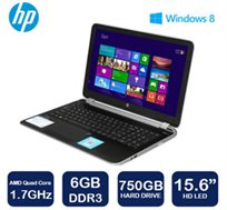 "נייד HP Pavilion 15 עם מסך ""15.6, מעבד AMD A8-5545M, זיכרון 6GB, דיסק 750GB ו-WIN8"