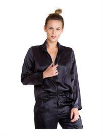 ג'קט עם רוכסן לנשים בצבע שחור
