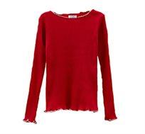 חולצה עם שרוולים ארוכים לילדות בצבע אדום
