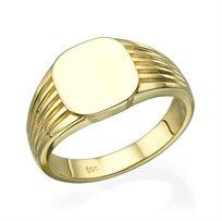 טבעת חותם זהב צהוב 14K