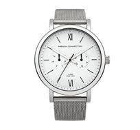 שעון יוקרתי לגבר French Connection עם רצועת מתכת - כסוף/לבן