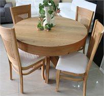 סט שולחן אוכל עגול נפתח עד למעלה מ-3 מטר כולל ארבע כסאות מרופדים עשוים עץ אלון מבוקע
