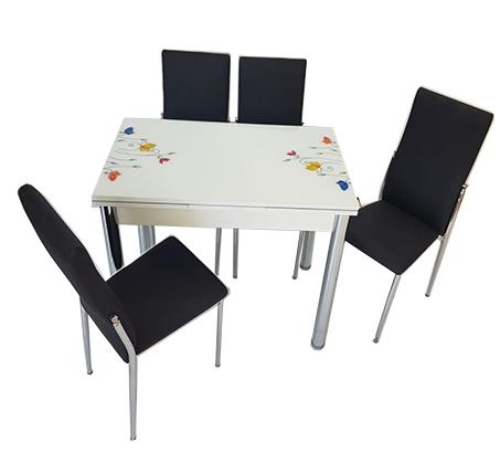 סט פינת אוכל מעוצב הכולל שולחן עם אפשרות הרחבה ו-4 כיסאות בצבעים וגדלים לבחירה  - תמונה 3