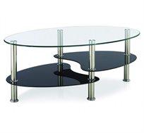 שולחן סלון דו-מדפי Homax בשילוב ניקל וזכוכית