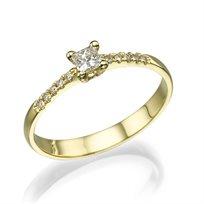 """טבעת אירוסין """"לוסי"""" 0.25 קראט זהב צהוב בעיצוב קלאסי"""