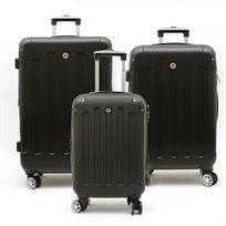 Swiss Travel Club - סט 3 מזוודות 201 קשיחות בצבע שחור