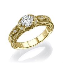 """טבעת יהלומים """"ליז"""" בעיצוב עתיק ומיוחד 0.63 קראט זהב צהוב"""
