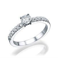"""טבעת אירוסין זהב לבן """"מלודי"""" 0.56 קראט"""