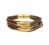 צמיד מגנט חדש בציפוי זהב 24 קראט עם עור בצבע ברונזה