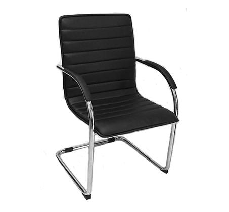 כיסא אורח בריפוד דמוי עור בשילוב ניקל דגם רן
