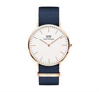שעון יד אנלוגי לגבר רוז גולד Classic Bayswater - כחול