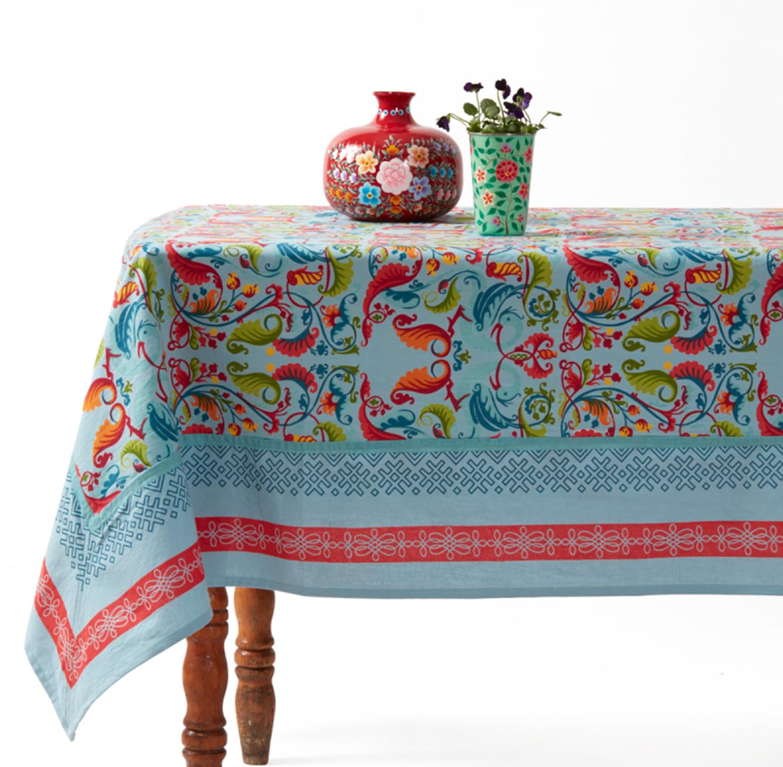 מפת שולחן מודפסת 100% כותנה דגם Vista בגוון בז' במידות לבחירה