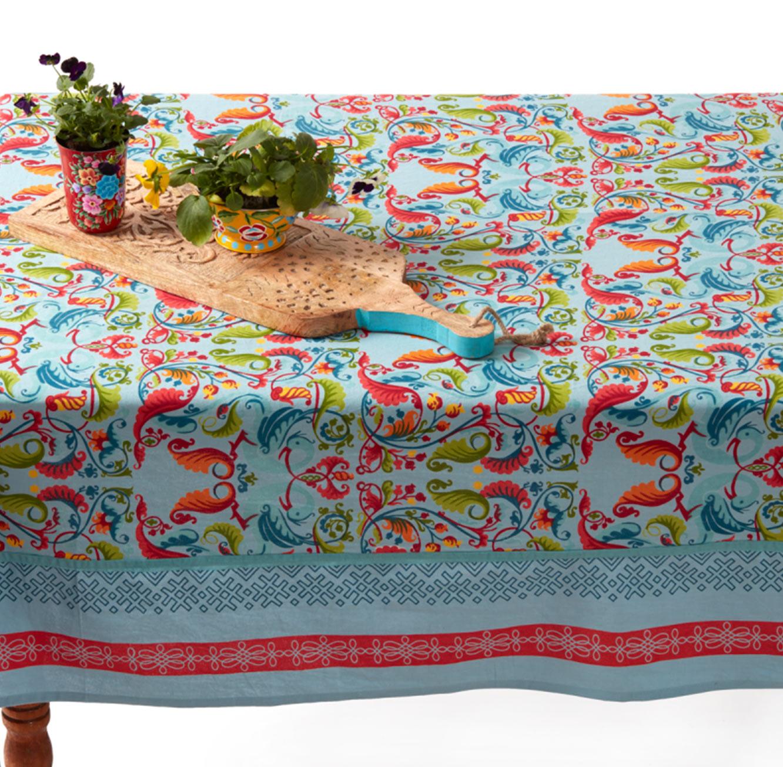 מפת שולחן מודפסת דגם Vista בגוון תכלת עשויה 100% כותנה Ginger - תמונה 2