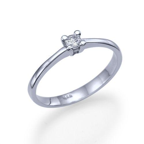 """טבעת אירוסין זהב לבן """"דריה"""" 0.11 קראט בעיצוב סוליטר קלאסי ועדין"""