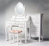 סט לפינת איפור הכוללת שידת איפור בעלת 7 מגירות, מראה וכיסא תואם וקומודה בדגמים וצבעים לבחירה
