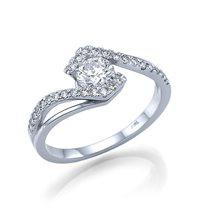 """טבעת אירוסין זהב לבן """"טארה"""" 0.85 קראט נוצצת ובעלת ברק"""