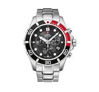 שעון כרונוגרף שוויצרי בעיצוב ספורטיבי לגבר SWISS MILITARY עשוי פלדת אל חלד עמיד במים עד 100M