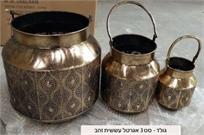 סט 3 אגרטלי עששית זהב מעוצבים 151400