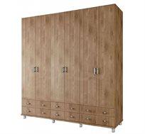 ארון תליה 6 דלתות עם מדפים ומגירות דגם ROY במגוון צבעים לבחירה