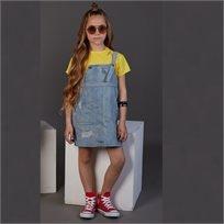 סרבל Oro לילדות (מידות 2-8 שנים) ג'ינס כיסים