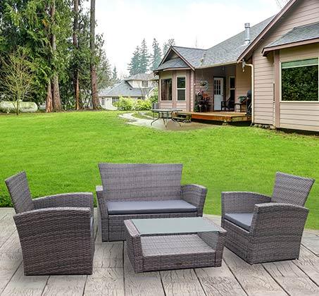 מערכת ישיבה דמוי ראטן לגינה או למרפסת בצבע אפור כהה דגם טוסקנה