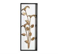 קישוט קיר מתכתי עם מסגרת בצורת ענף טרופי מוזהב
