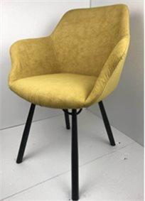 כיסא מעוצב דגם מג'יק מבד קטיפה איכותי צבע חרדל רגליים שחורות