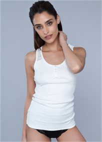 RIBBED LACED SLEEVLESS TOP פיגמת לאונג