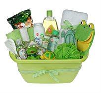 מתנת לידה מקסימה ושימושית המורכבת ממוצרים איכותיים לזמן אמבטיה כיפי ומפנק