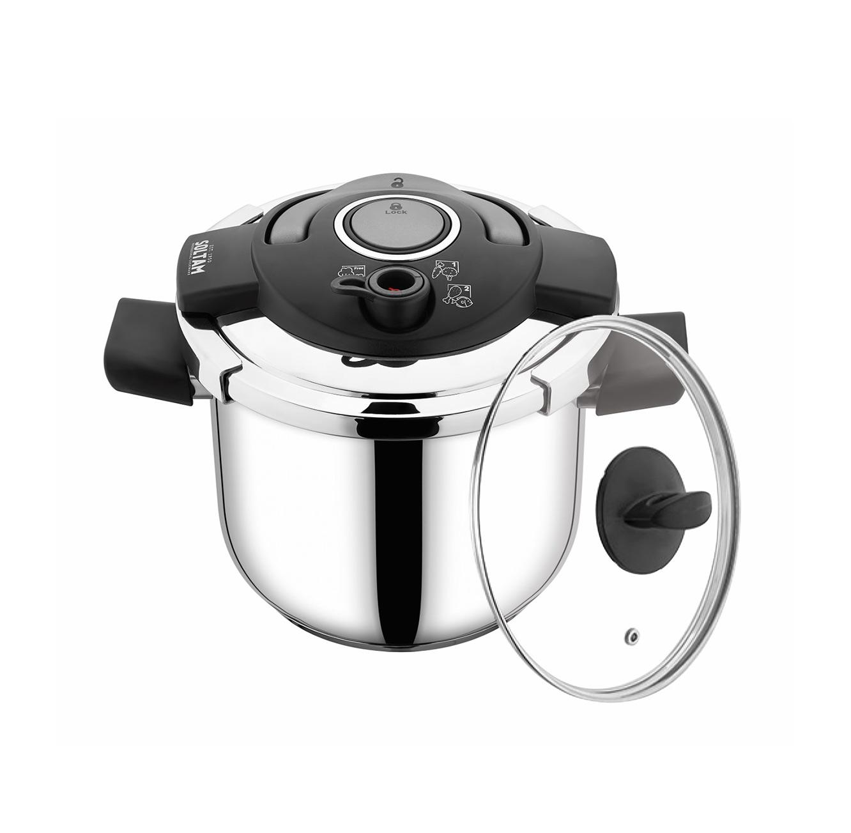 """סיר לחץ 22 ס""""מ 7 ליטר כולל מכסה זכוכית CookSmart עשויים פלדת אל-חלד SOLTAM  - משלוח חינם"""