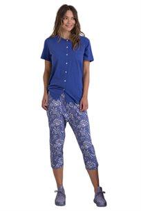 סט פיג'מה חולצה מכופתרת ומכנס פרחוני EXPOSE DREAMS לאישה בשני צבעים לבחירה