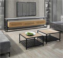 סט מזנון ושולחן לסלון בשילוב זכוכית ברזל ועץ דגם אטלנטיק