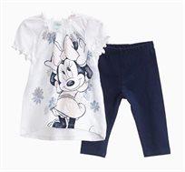 חליפה OVS לתינוקות וילדות - לבן וכחול עם הדפס מיני מאוס