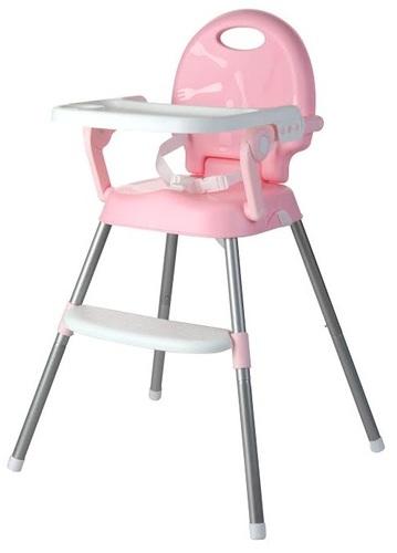 כיסא אוכל רב שלבי 3 ב 1 הופך לבוסטר, 2 מצבי גובה ומגש - ורוד