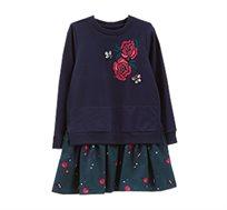 שמלה OVS בעיטור אבנים ורקמת פרחים לילדות - כחול
