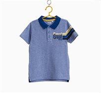 חולצת פולו לילדים בצבע כחול עם הדפס