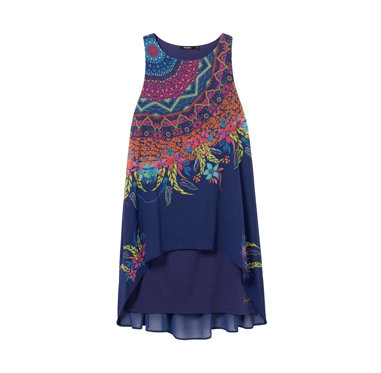 שמלה כחולה א-סימטרית בגזרה משוחררת לאישה Adri - הדפס צבעוני