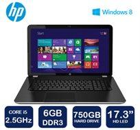 """מחשב נייד """"17.3 HP בעל מעבד i5 דור רביעי, זכרון 6GB, דיסק קשיח ענק בנפח 750GB ו-WIN8"""