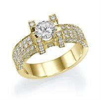 """טבעת אירוסין זהב צהוב """"דיאז"""" 1.86 קראט בסגנון יוקרתי"""