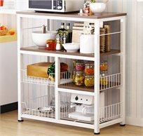 עגלת בוצ'ר למטבח המכילה 4 קומות משטח עבודה מדפים וסלסלאות אחסון HomeTown