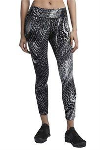 מכנסי ריצה טייץ  לנשים - שחור מודפס
