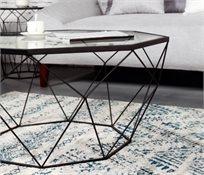 שולחן סלון מתומן משטח זכוכית מראה בצורת יהלום רשת שחור 122814