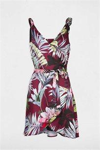 שמלה פרחונית א סימטרית MORGAN בצבע שזיף