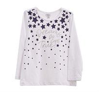 טישרט OVS לילדות בצבע לבן עם הדפס כוכבים וכיתוב נוצץ