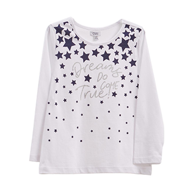 טישרט OVS לילדות - לבן עם הדפס כוכבים וכיתוב נוצץ