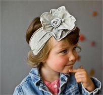 אופנה ראשונה! סרט ראש רחב אפור עם פרח אפור גדול, 100% כותנה עדינה ונעימה לתינוקות