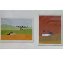 """""""נוף תלמים וצומת אשקלון"""" - ציורו של איצו רימר, הדפס חתום וממוספר בגודל 30X58 ס""""מ"""