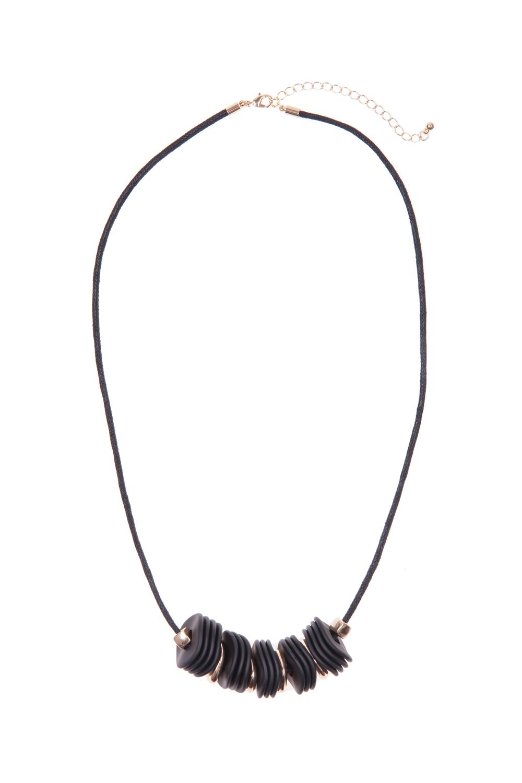שרשרת חוט כותנה שחור בשילוב חרוזים