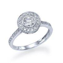 """טבעת אירוסין זהב לבן """"הלנה"""" 0.93 קראט בשיבוץ 53 יהלומים מסביב"""