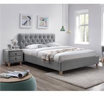 מיטה זוגית מרופדת עם בסיס עץ מלא וזוג שידות לילה תואמות דגם רוקסן HOME DECOR